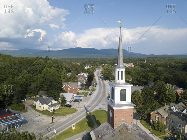 Elevated view of church steeple