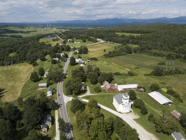 Drone photo of Route 30 through southern Champlain Valley