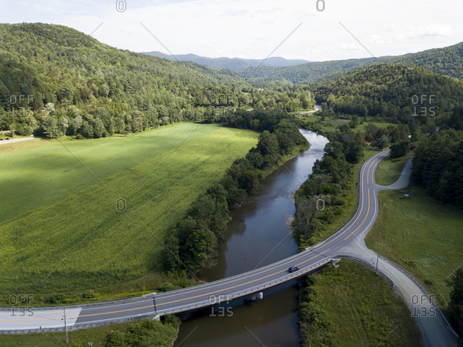 Elevated view of scenic Route 100 in Stockbridge, Vermont