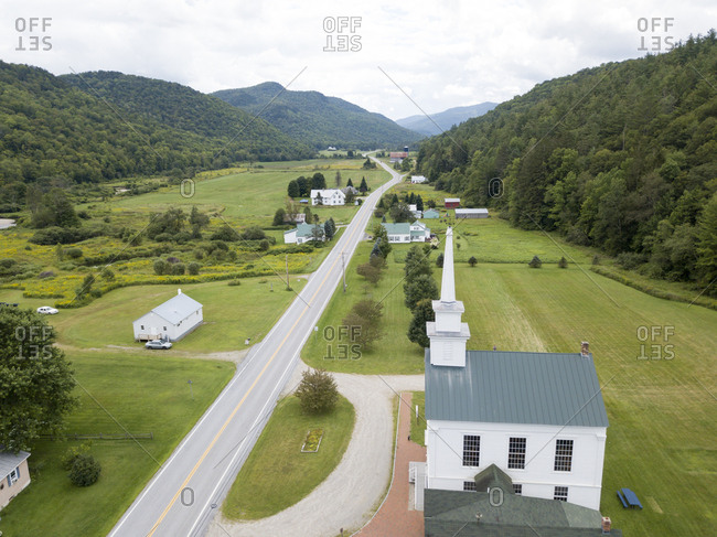 Drone view of buildings along Route 100 in Granville, Vermont