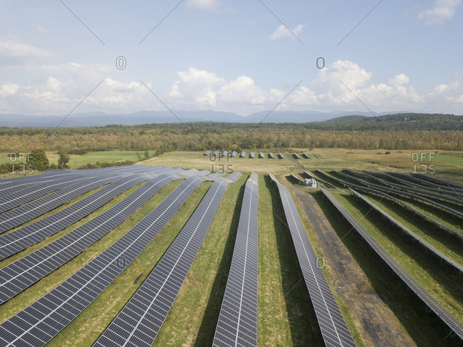 Summer view of solar panels in Sudbury, Vermont