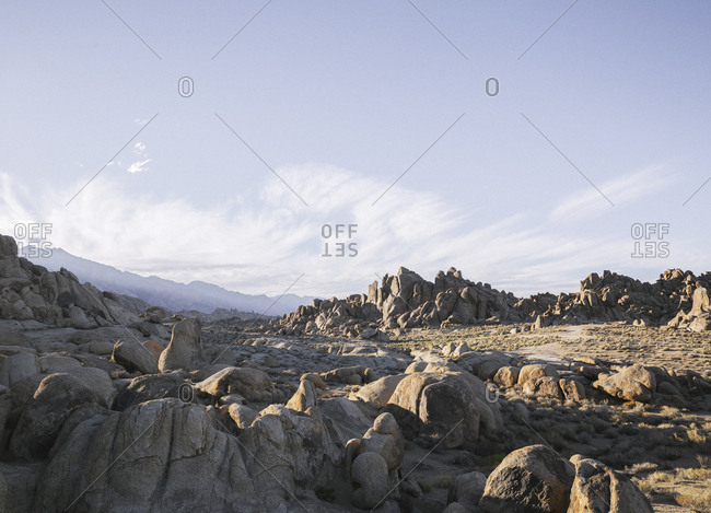 View over inhospitable rocky desert landscape