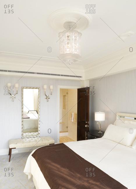 Interior view of hotel bedroom