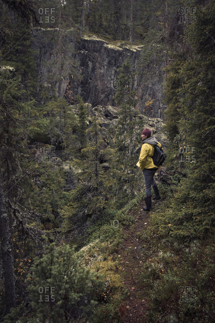 Man standing on cliff in forest