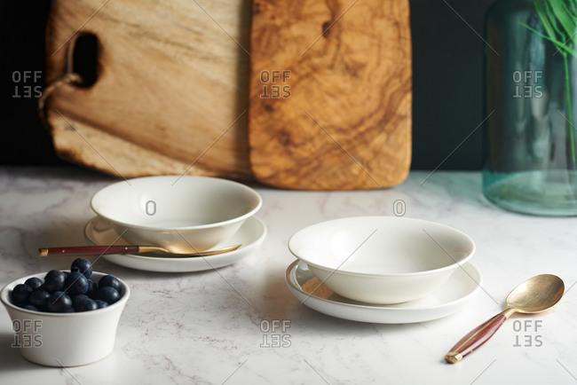 Breakfast bowls on kitchen counter