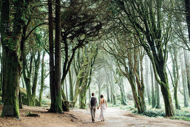 Couple walking hand-in-hand through surreal mossy woods