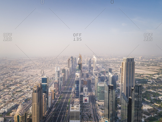 Dubai, United Arab Emirates - June 24, 2017: Aerial view of the traffic lanes and Skyscrapers