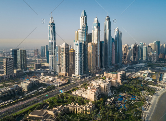 Dubai, United Arab Emirates - June 25, 2017: Aerial view of  skyscrapers close by the beach