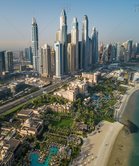 Dubai, United Arab Emirates - June 25, 2017: Aerial view of the beach and skyscrapers