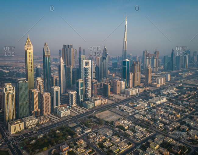 Dubai, United Arab Emirates - June 25, 2017: Aerial view of the impressive Burj Khalifa Tower in the middle of others skyscrapers