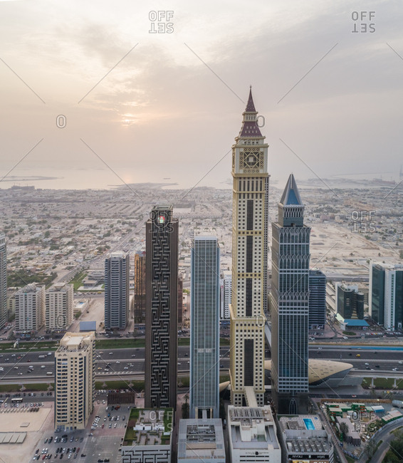 Dubai, United Arab Emirates - July 17, 2017: Aerial view of Al Yaqoub Tower with the sea in background