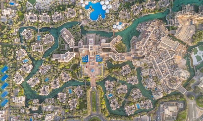 Dubai, United Arab Emirates - August 25, 2017: Aerial view of the Madinat Jumeirah Resort