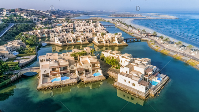 Dubai, United Arab Emirates - October 6, 2017: Aerial view of a resort area on the coast