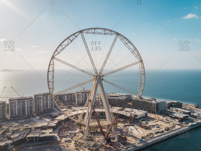 Dubai, United Arab Emirates - December 16, 2017: Aerial view of the Ferris wheel under construction on Bluewaters island