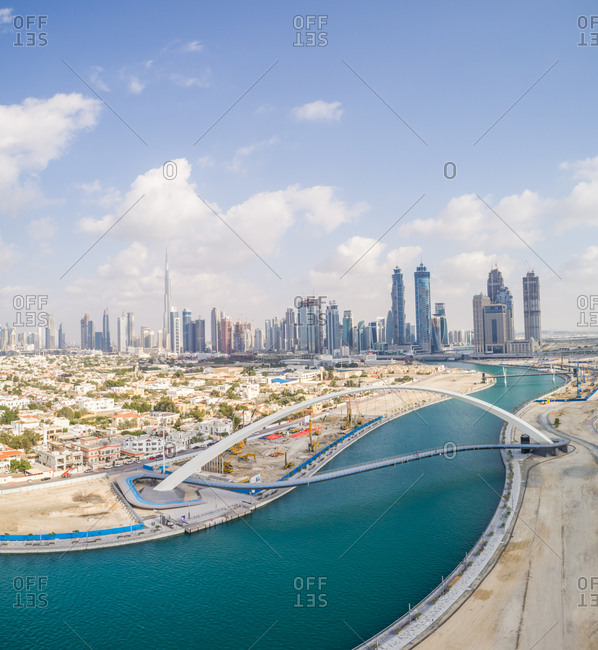 Dubai, United Arab Emirates - January 5, 2018: Panoramic aerial view of the Tolerance pedestrian Bridge