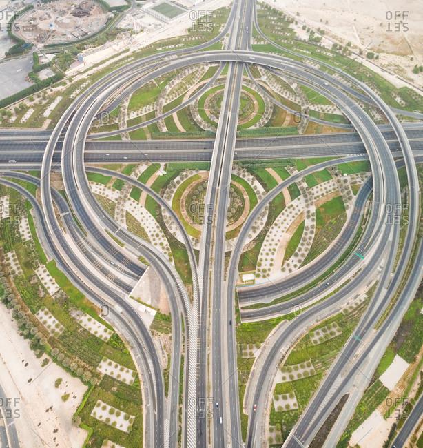 Aerial view of geometrical traffic lanes in Dubai, U.A.E.