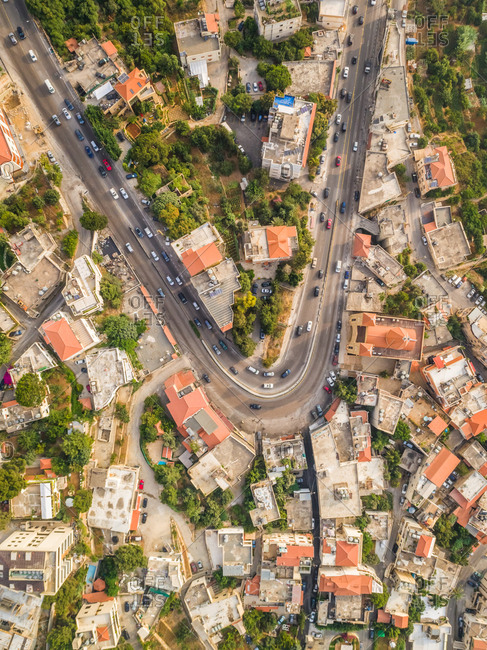 Aerial view of a curved road in the picturesque village of Aley in Lebanon