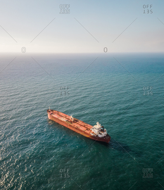 Aerial view of a shipping boat in the mediterranean sea in Lebanon