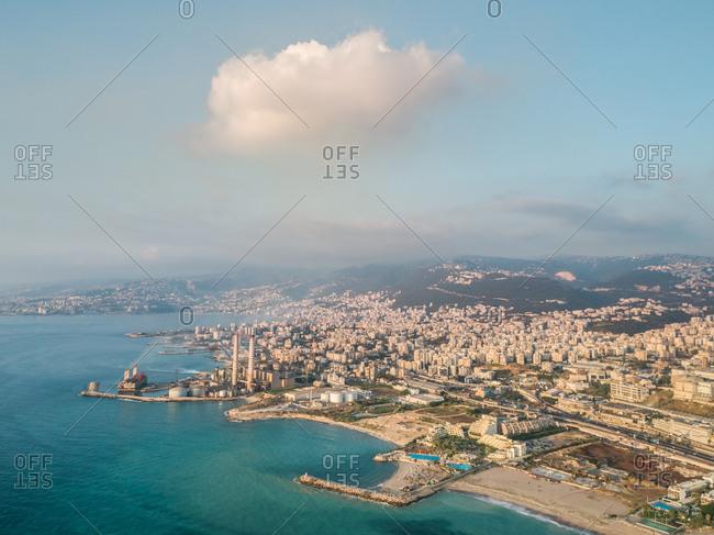 Aerial view of the coast in Keserwan District, Beirut,  Lebanon
