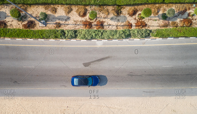 Aerial view of a car driving in Dubai, U.A.E.