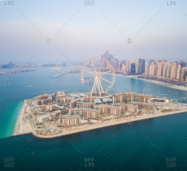 Aerial view of Bluewaters island in Dubai, U.A.E.