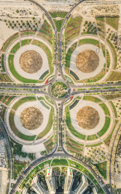 Aerial view of geometrical traffic lanes in Dubai, U.A.E.