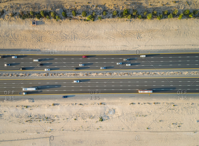 Aerial view of highway in Dubai desert, U.A.E.