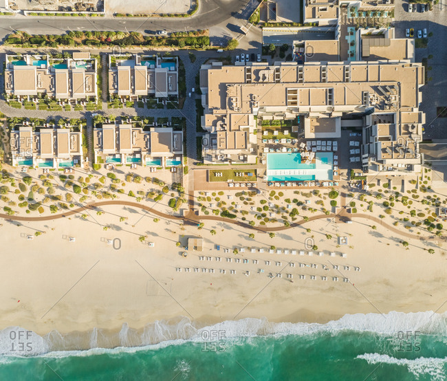 Aerial view of resort and beach on Pearl Jumeirah island in Dubai, U.A.E.