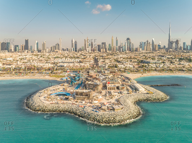 Aerial view of building under construction on the beach of Dubai, U.A.E.