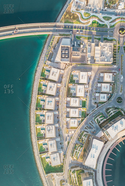 Aerial view of new buildings on Daria island in Dubai, U.A.E.