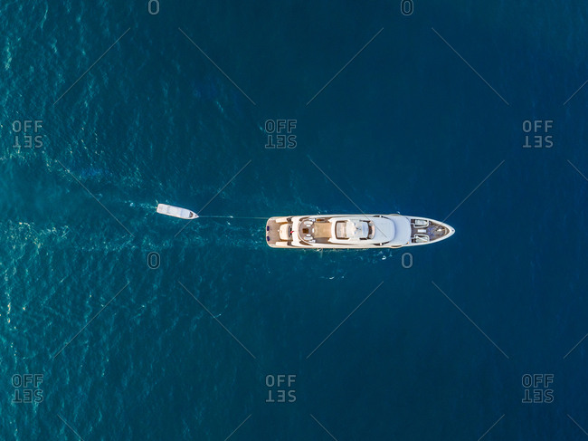 Aerial view of a yacht in the persian gulf in Dubai, U.A.E.
