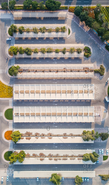 Abstract aerial view of a parking area in Dubai, U.A.E.