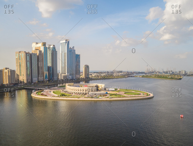 Aerial view of island amphitheater on Khalid lake in Sharjah, U.A.E.