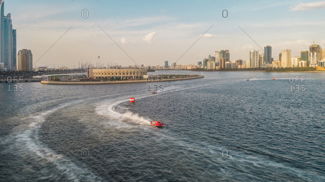 Aerial view of speedboats during the race in Khalid lake in Sharjah, U.A.E.