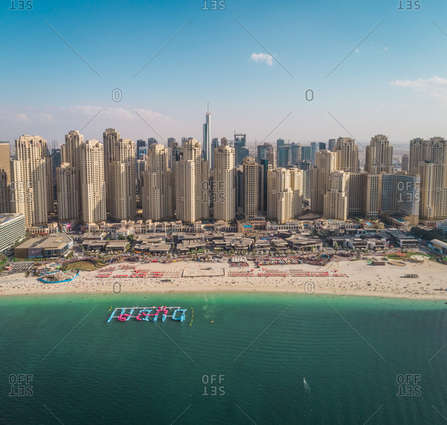 Aerial view of the Marina beach in Dubai, U.A.E.