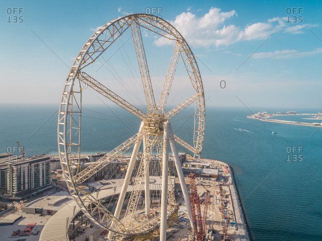 Aerial view of the Ferris wheel under construction on Bluewaters island in Dubai, U.A.E.