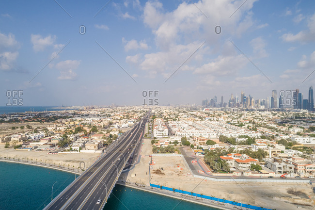 Aerial view of traffic lanes in Dubai, U.A.E.