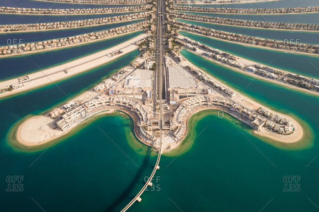 Aerial view of the Palm Jumeirah island in Dubai, U.A.E.