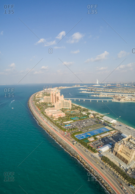 Aerial view of hotel on the Palm Jumeirah island, U.A.E.