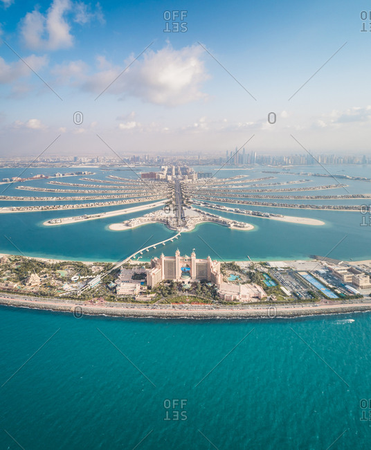 Panoramic aerial view of Atlantis hotel on the Palm Jumeirah in Dubai, U.A.E.
