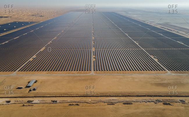 Aerial view of Al Maktoum solar panel park in Saih Al Salam ...