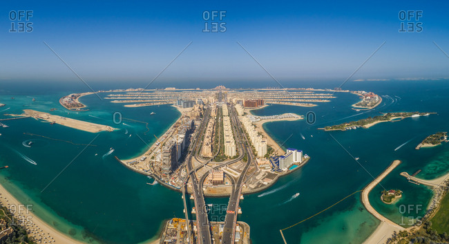 Panoramic aerial view of the Palm Jumeirah island in Dubai, U.A.E.