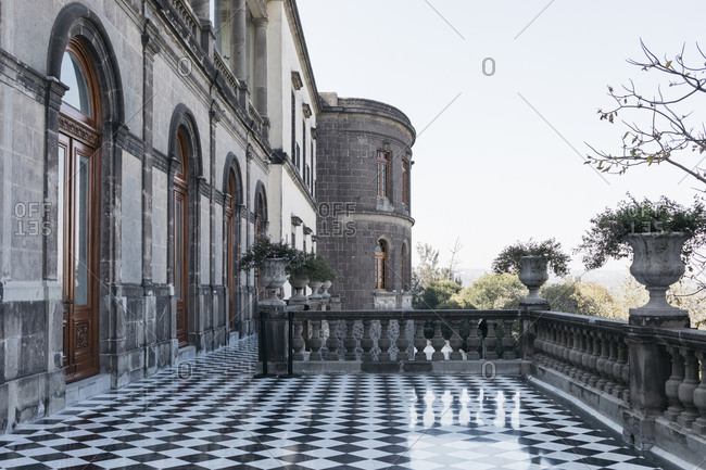 Mexico City, Mexico - January 12, 2018: Shaded balcony view of Chapultepec Castle exterior