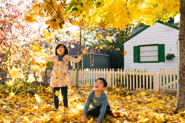 Siblings of Chinese ethnicity playing with fallen leaves on bright Fall day