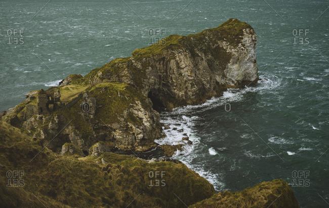 Exploring the Irish coastline in dramatic weather.