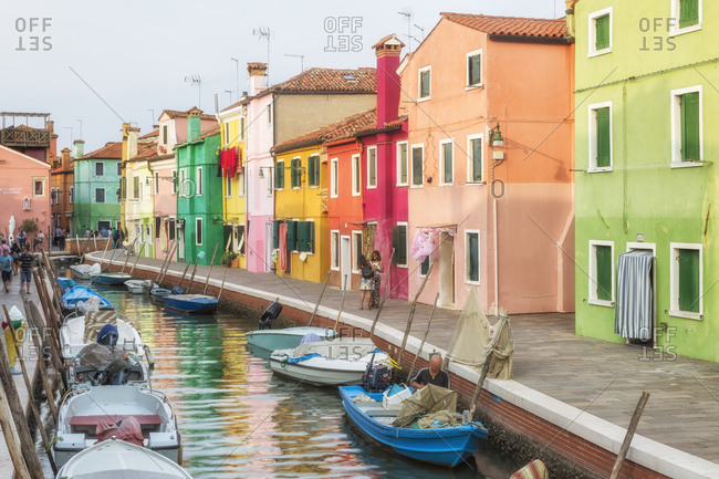 Venice, Italy - September 6, 2017: Iconic view of Burano village, one of the Venetian islands