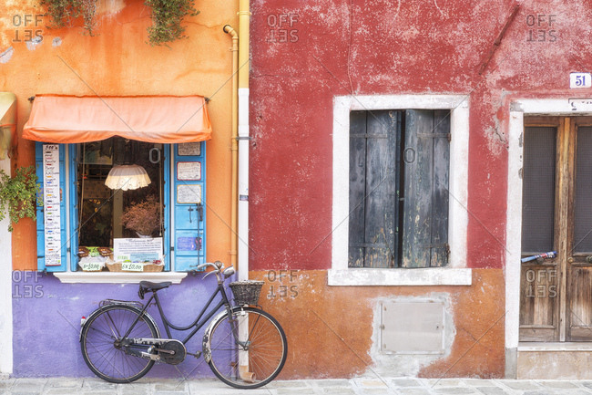 Venice, Italy - September 6, 2017: Exterior view of shop in Burano village
