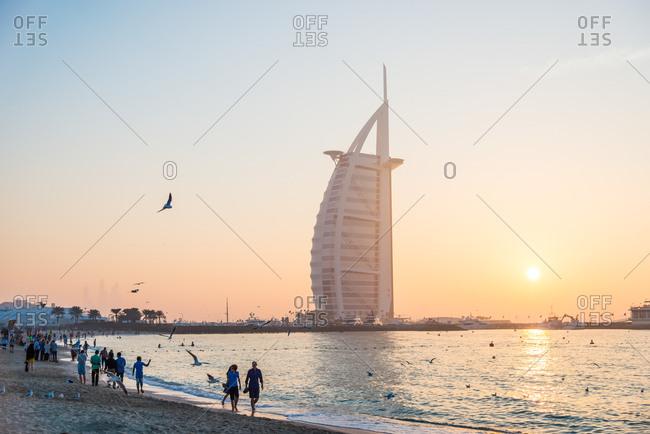 Dubai, United Arab Emirates - December 25, 2017: Burj Al Arab Hotel and Jumeirah beach