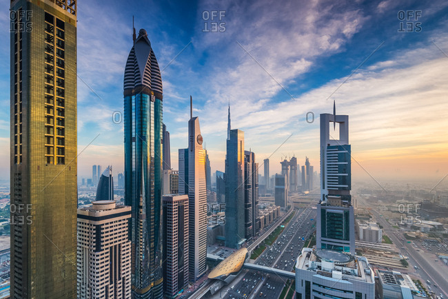Dubai, United Arab Emirates - December 26, 2017: High Rises on Sheikh Zayed Road