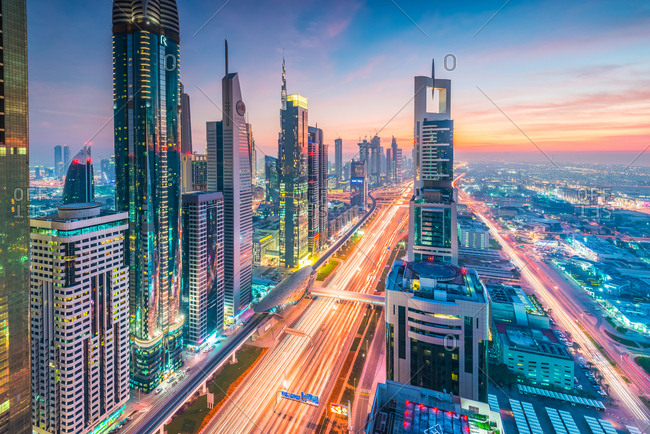 Dubai, United Arab Emirates - December 26, 2017: High Rises on Sheikh Zayed Road at twilight